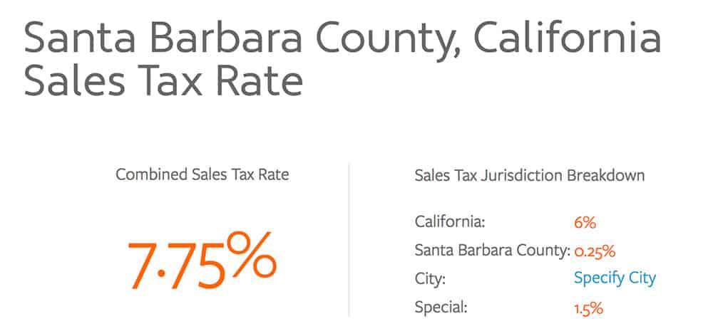 SB California Sale Tax Rate